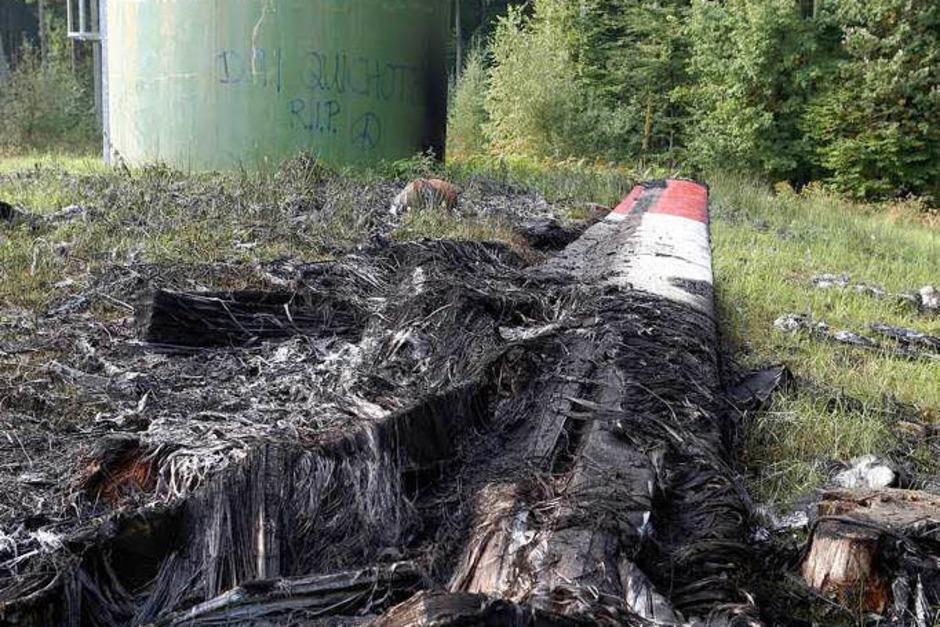 Das abgebrannte Windrad. (Foto: Privat)