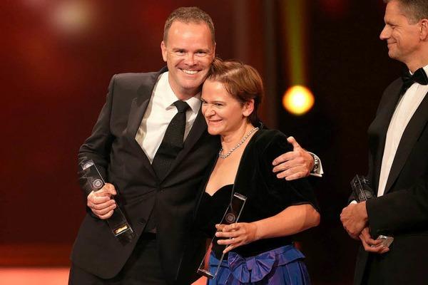 """Moderator Christian Sievers und sein Team erhielten die  Auszeichnung in der Kategorie """"Beste Nachrichtensendung""""."""