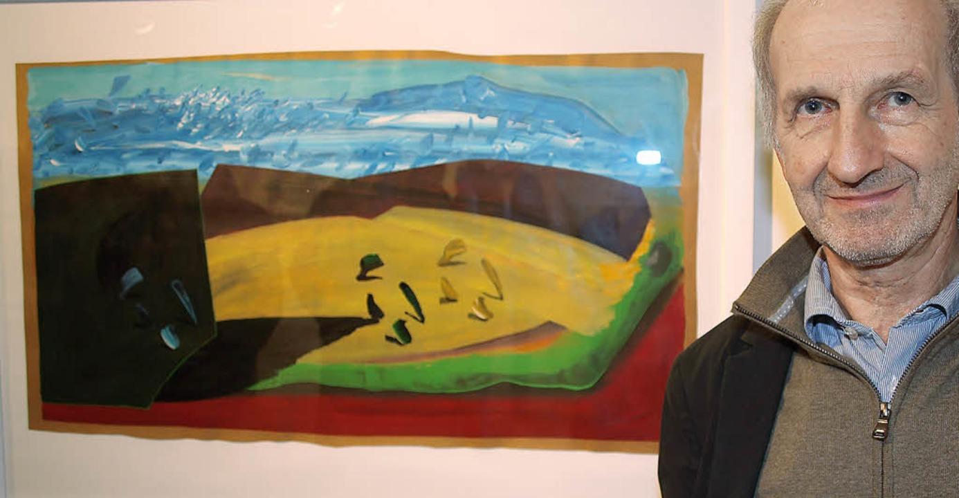 Der Künstler und sein Werk     Foto: Marion Pfordt