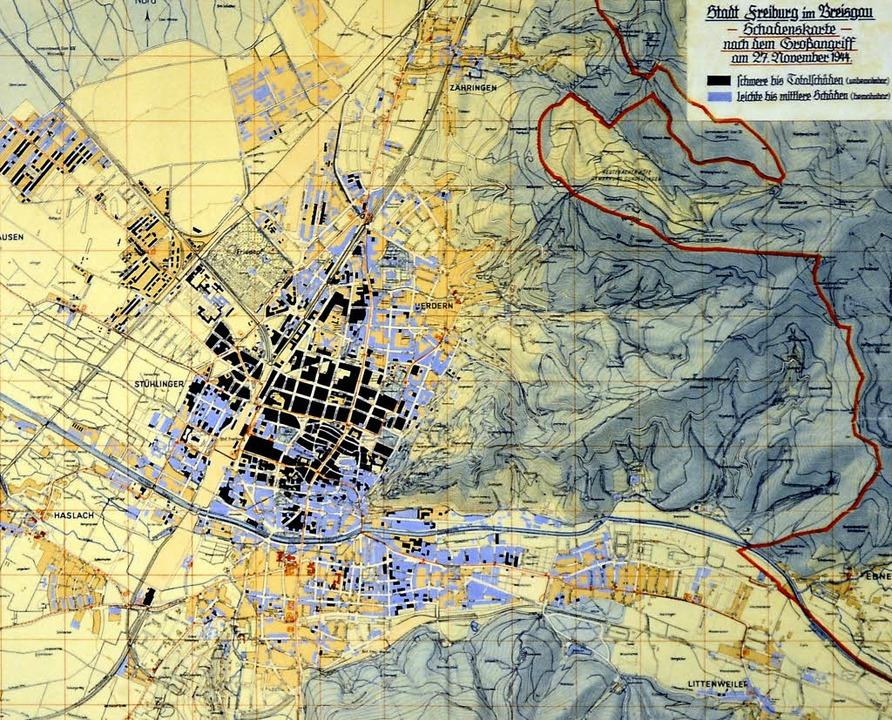 Die Schäden in den einzelnen Stadtgebi...e Karte hängt im Stadtarchiv Freiburg   | Foto: Ingo Schneider