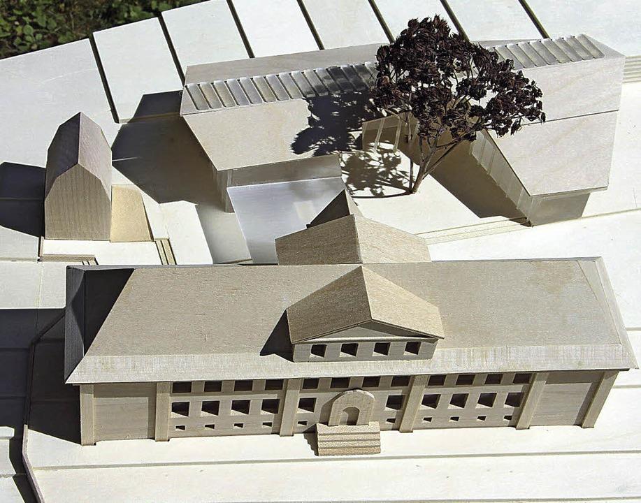 im Modell: Alt- (vorne) und geplanter Neubau der Grundschule  | Foto: Werkgruppe Lahr
