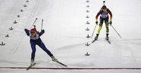 Evi Sachenbacher-Stehle wird im Biathlonrennen Vierte