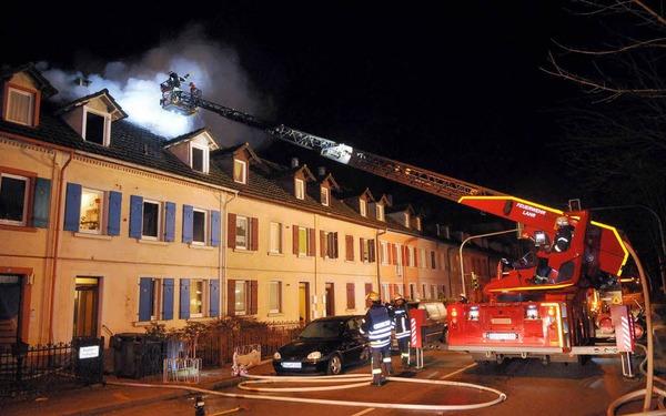 Löscharbeiten in der Kaiserstraße in Lahr