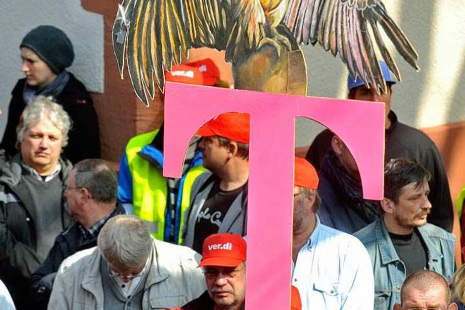Mitarbeiter der Telekom in Freiburg hatten am Mittwoch und Donnerstag die Arbeit niedergelegt. (Foto: Michael Bamberger)