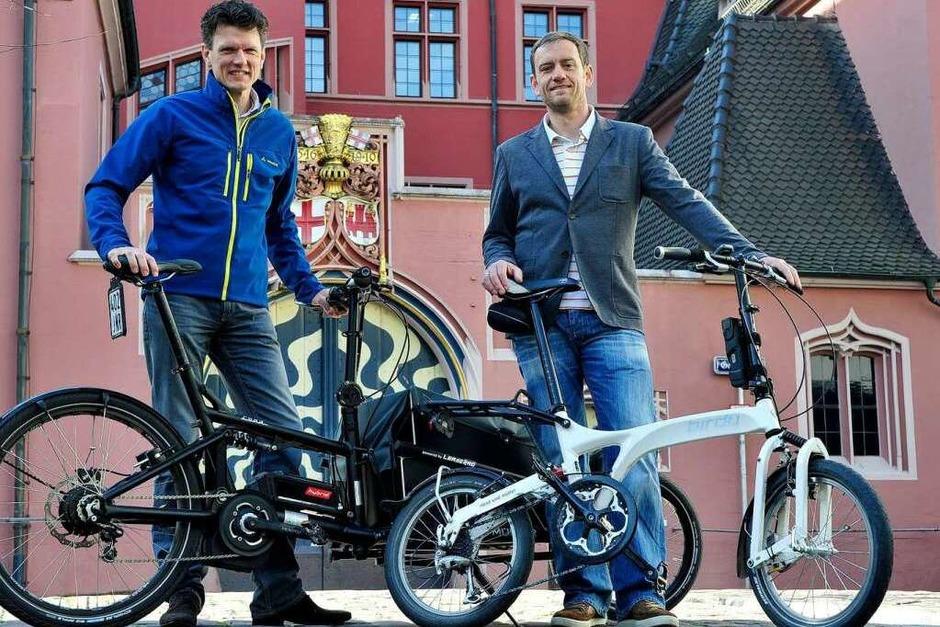 Jobmotor 2013, Leaserad in Freiburg, Geschäftsführer Ulrich Prediger (li.) und Holger Tumat (Foto: Thomas Kunz)