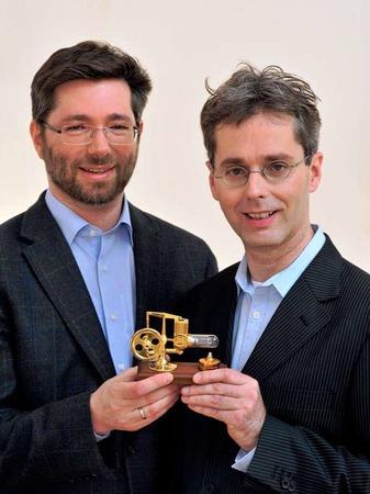 Jobmotor 2013, Reservix in Freiburg, Geschäftsführer Johannes Güntert (li.) und Johannes Tolle