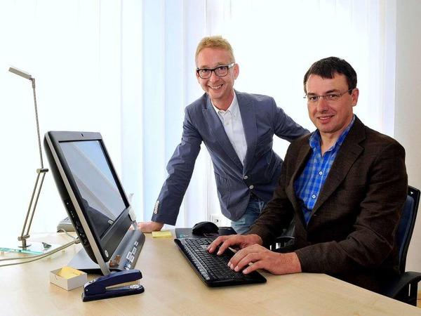 Jobmotor 2013, Pflegedienst  Hornbruch in Gundelfingen, Geschäftsführer Michael Hornbruch (li.) und Thomas Balzer