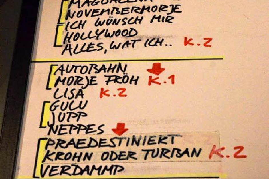 """Wer es genau wissen will: Hier die Set-List, bei der noch das zwischenzeitlich eingeschobene """"Anna"""" fehlt. (Foto: Hans-Peter Müller)"""