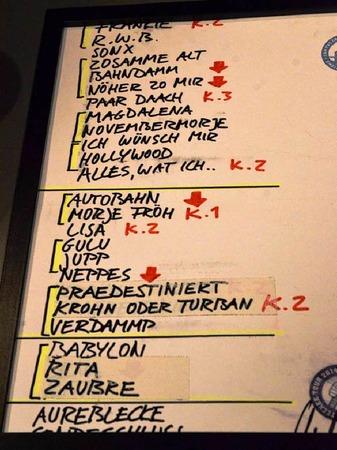 """Wer es genau wissen will: Hier die Set-List, bei der noch das zwischenzeitlich eingeschobene """"Anna"""" fehlt."""