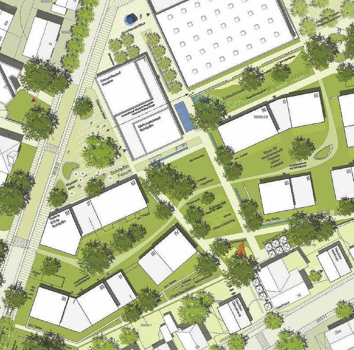 Plätze und Grünflächen gliedern das kü...eren (südlichen) Teil die Wohnhäuser.     Foto: Pläne: Wick und Partner