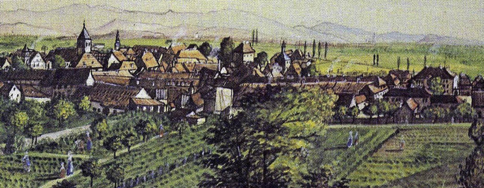 So sah  Emmendingen zu  Schlossers Zei...r ersten Hälfte des 19. Jahrhunderts.   | Foto: Generallandesarchiv Karlsruhe