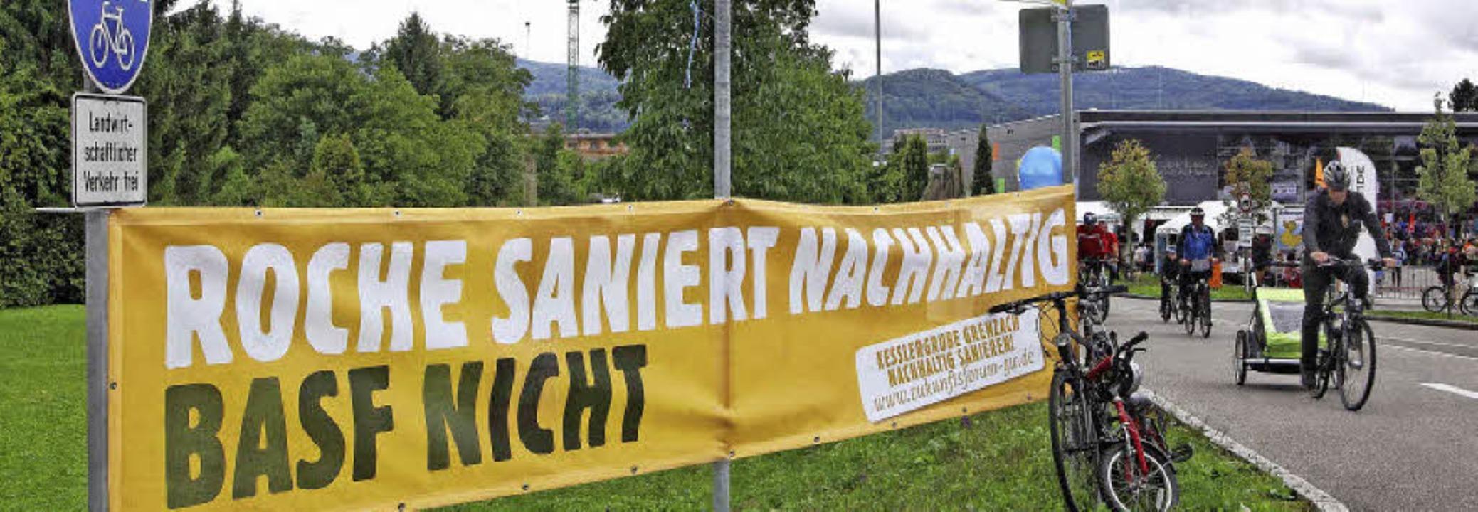 Ihren Protest gegen die von BASF gepla...s aus, hier im September beim Slow-up.  | Foto: ZVG/Thomas Dix