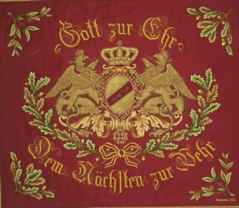 Die wertvolle Fahne aus dem Jahr 1904 wurde aufwendig restauriert.     Foto: j Högg