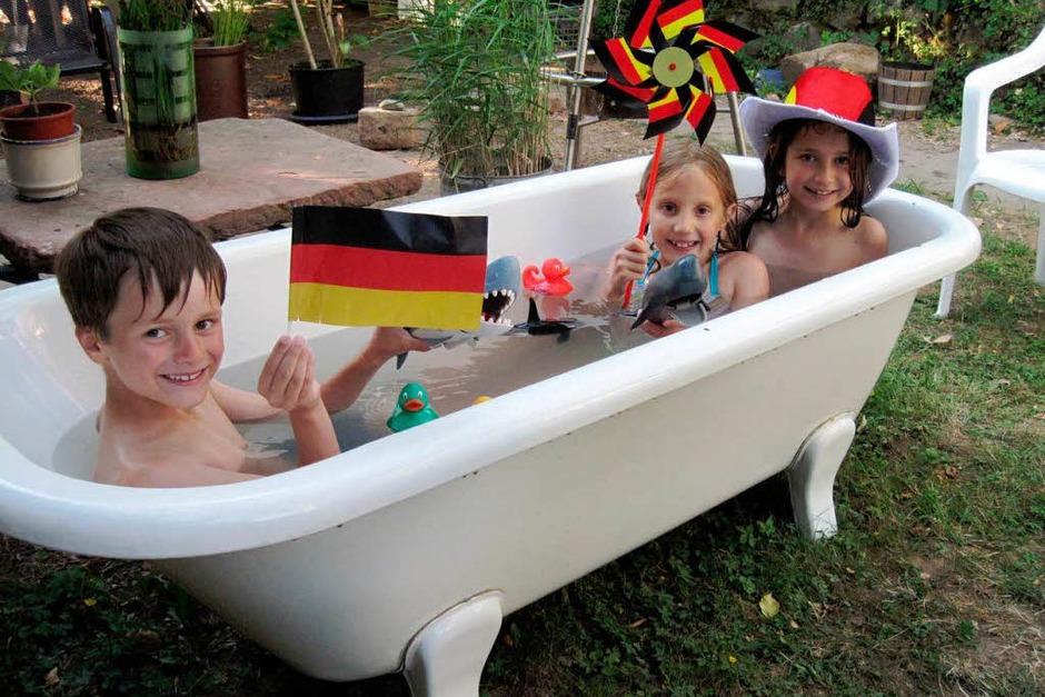 Abkühlung vor dem Deutschland-Spiel (Foto: Michael Grzeschik (Lahr))