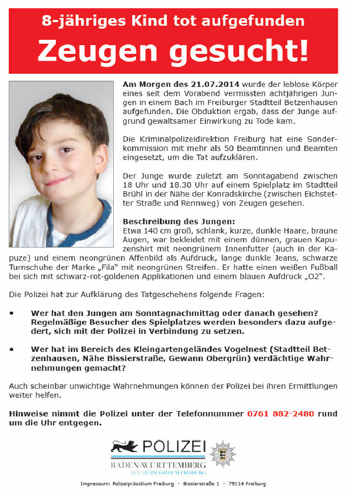 Flugblatt: Polizei sucht nach Zeugen