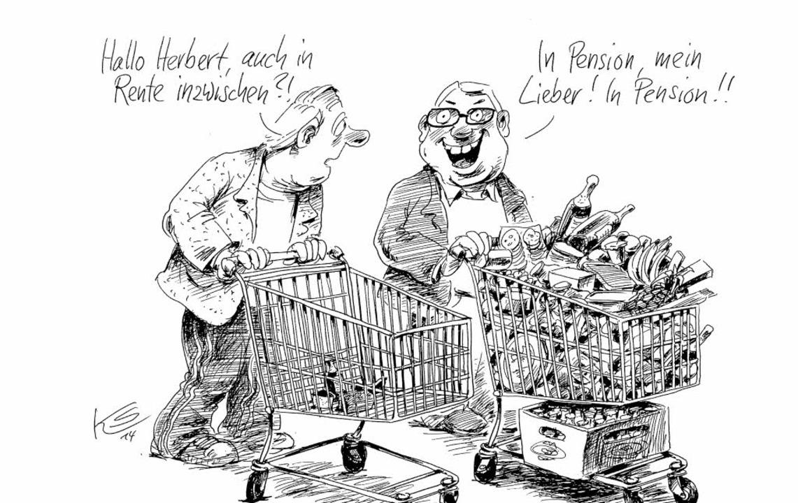 Karikatur  Rente Vs  Pension - Karikaturen