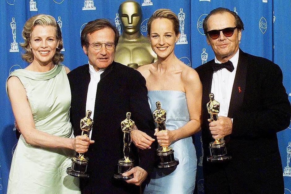 Die Oscar-Gewinner 1998: Kim Basinger, Robin Williams, Helen Hunt, Jack Nicholdson. Williams gewann als bester Nebendarsteller in Good Will Hunting. (Foto: AFP)