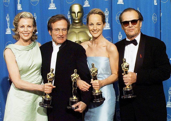 Die Oscar-Gewinner 1998: Kim Basinger, Robin Williams, Helen Hunt, Jack Nicholdson. Williams gewann als bester Nebendarsteller in Good Will Hunting.