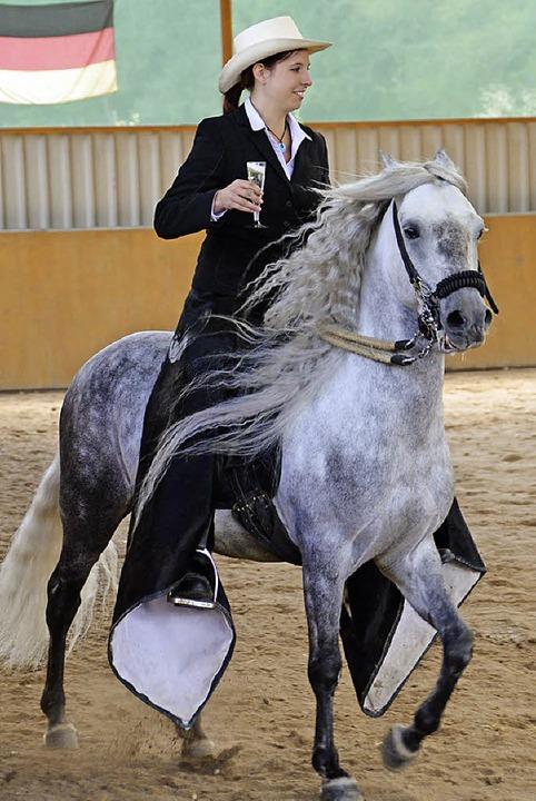 Ein Gläschen Sekt auf dem Pferderücken? Beim Paso Fino kein Problem.  | Foto: Juliane Kühnemund