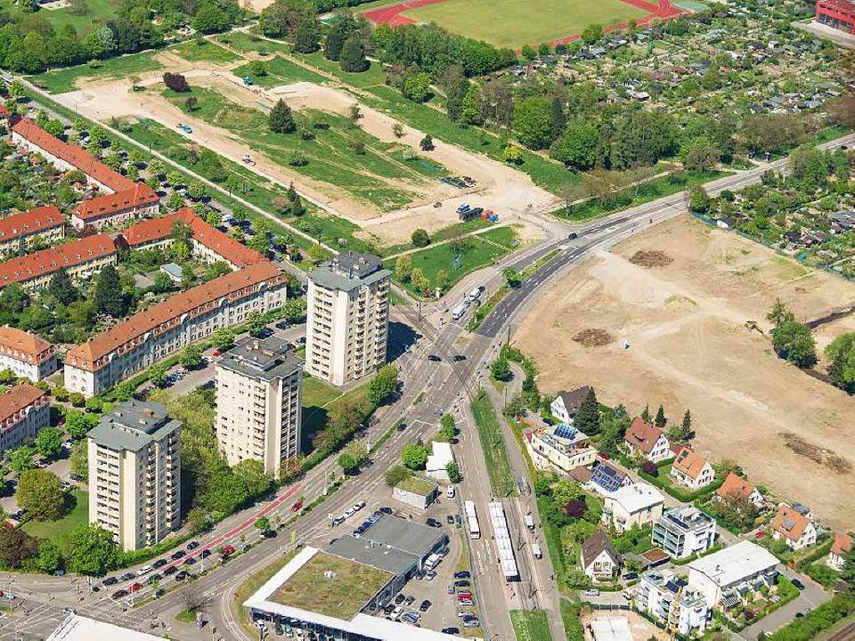 Das Neubaugebiet Gutleutmatten von oben.  | Foto: Nils Theurer