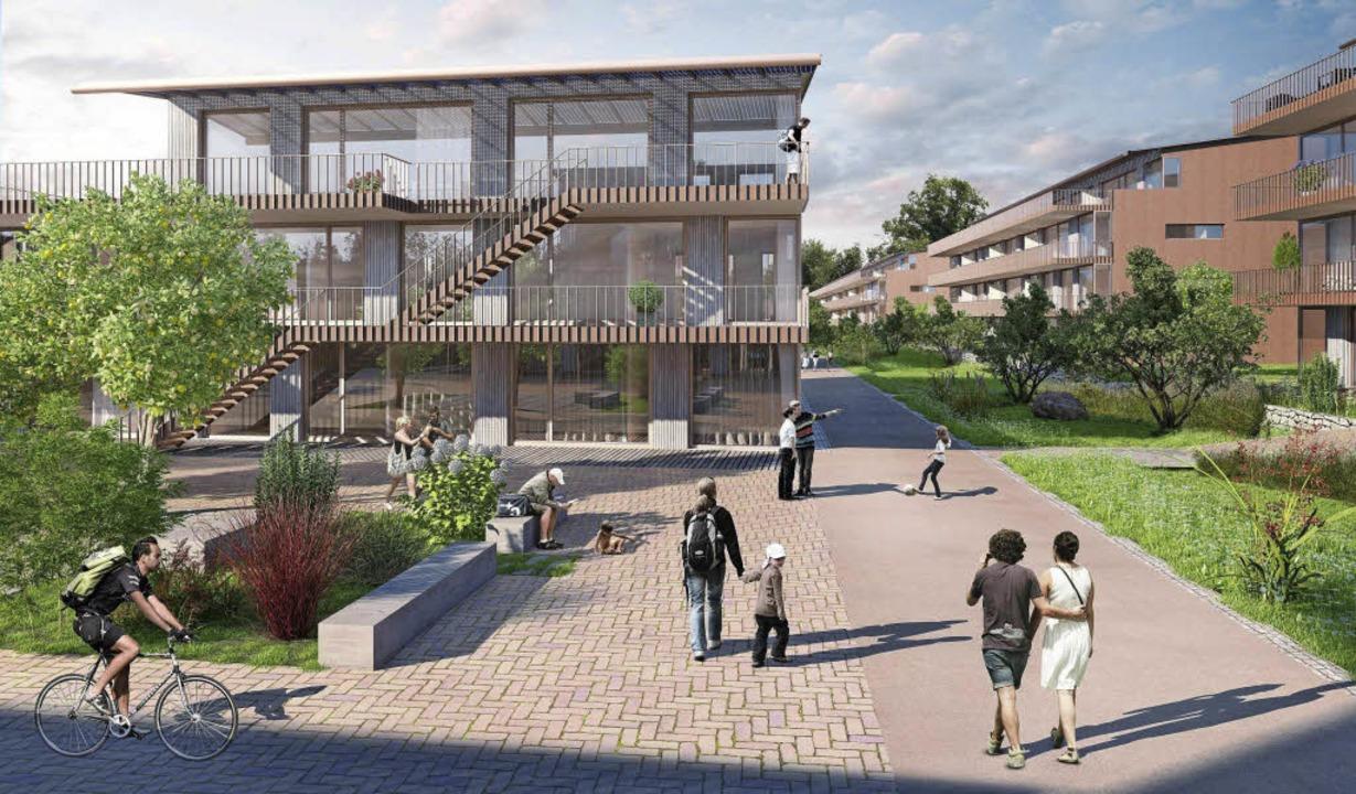 Blick auf Wohnhof und Fußgänger-Promen...Architektur  in die Dächer integriert.    Foto: visualisierung: Stiftung Abendrot/Architron