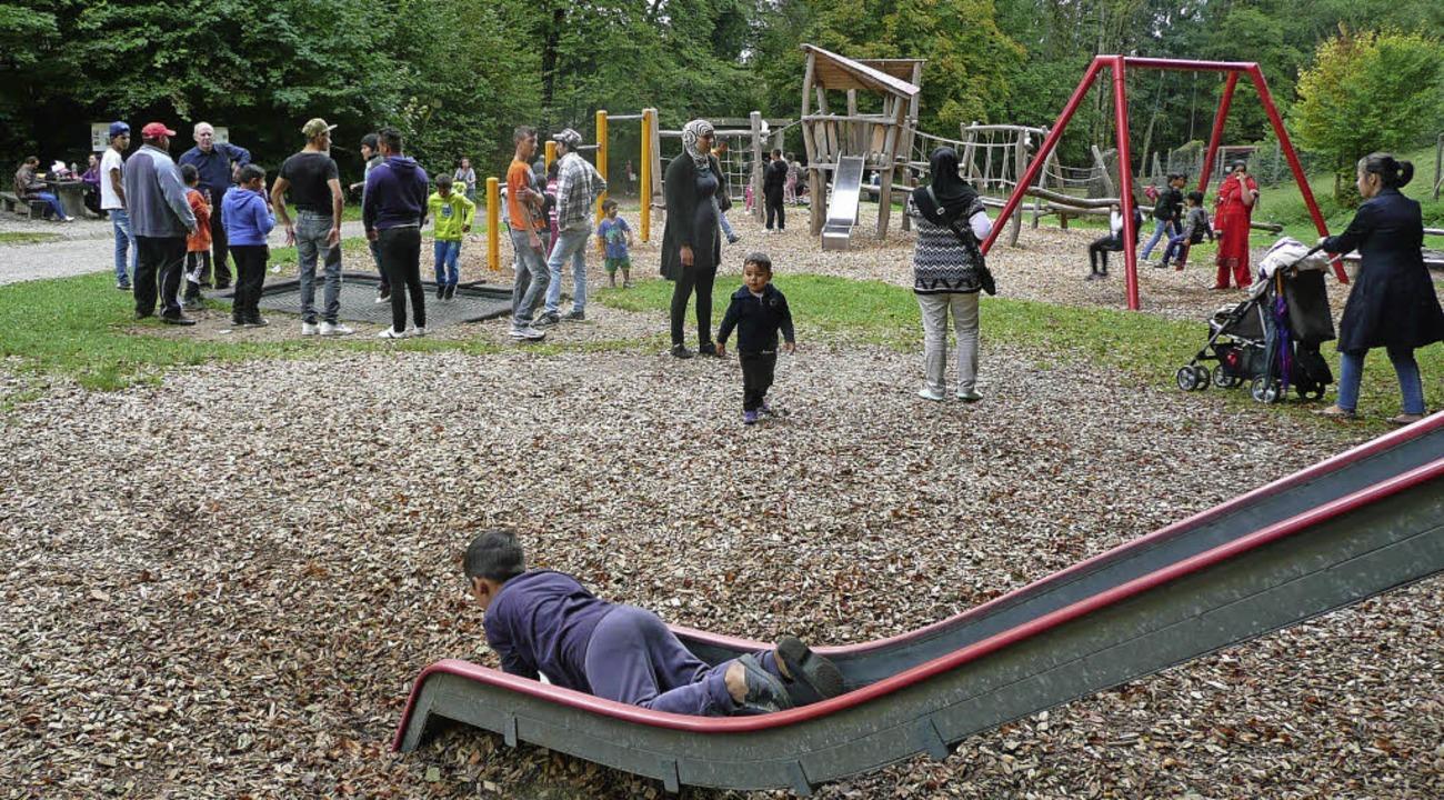Den Kindern gefiel besonders das ausge...n auf dem Spielplatz beim Wildgehege.   | Foto: Danielle Hirschberger
