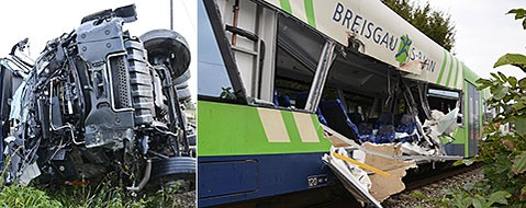 Breisgau-S-Bahn prallt gegen Laster - Lkw-Fahrer stirbt