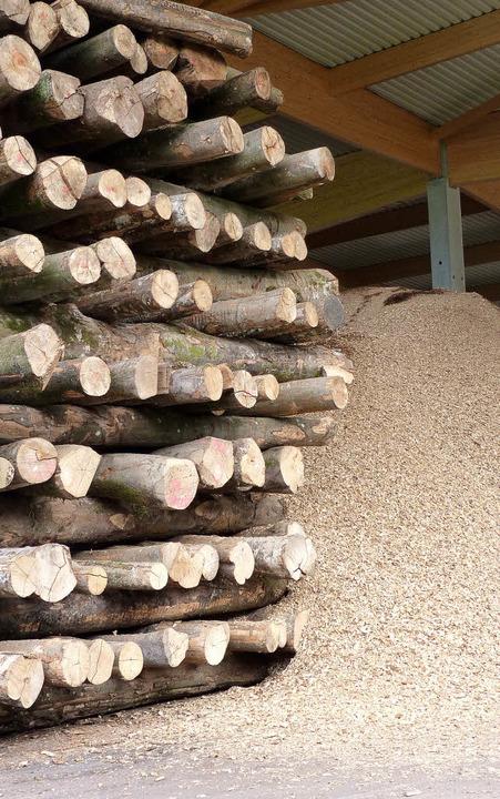 Holz im Überfluss: Das Nahwärmenetz in...chnitzel in einem Holzlager (rechts).     Foto: sattelberger
