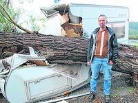 Baum st�rzt auf Wohnwagen und erschl�gt fast Bewohner