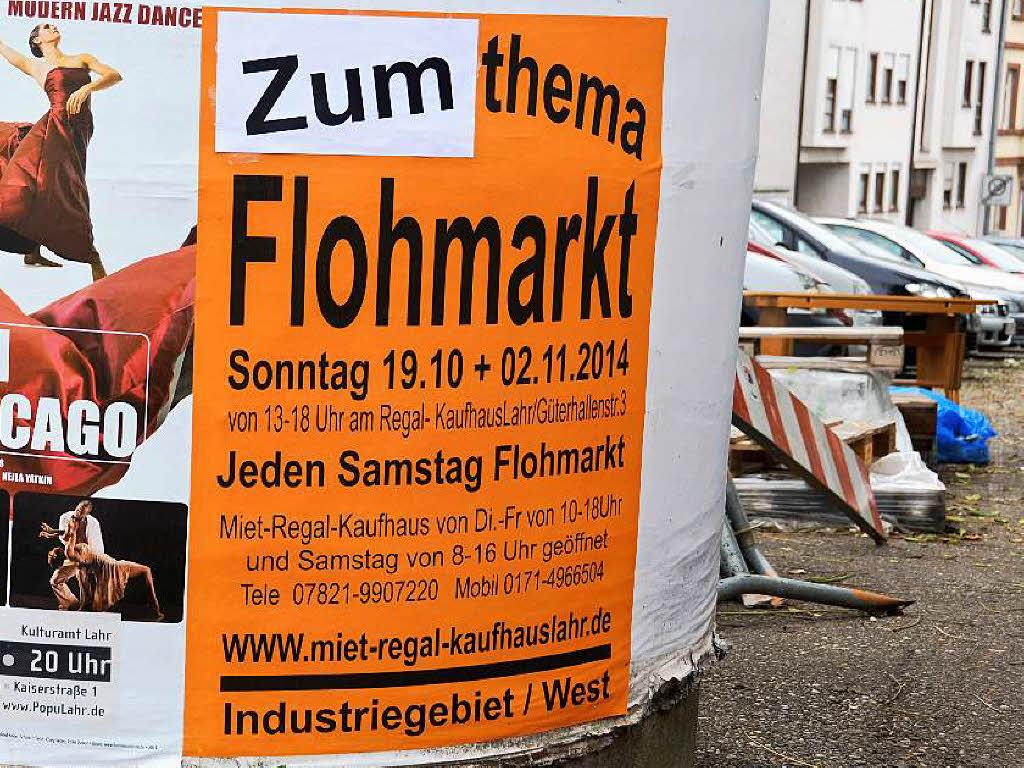 rger um chrysanthema flohmarkt plakate mussten berklebt werden lahr badische zeitung. Black Bedroom Furniture Sets. Home Design Ideas