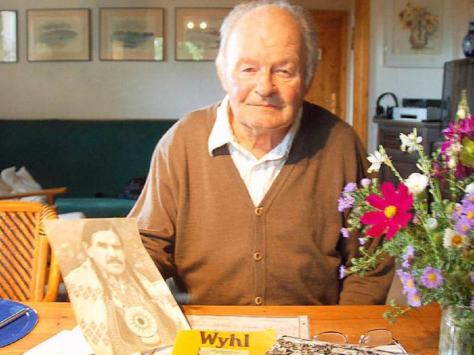 Meinrad Schwörer (83), Wyhl-Veteran un...tstand 2011 zu seinem 80. Geburtstag.     Foto: Archivfoto: Hans-Jürgen Truöl