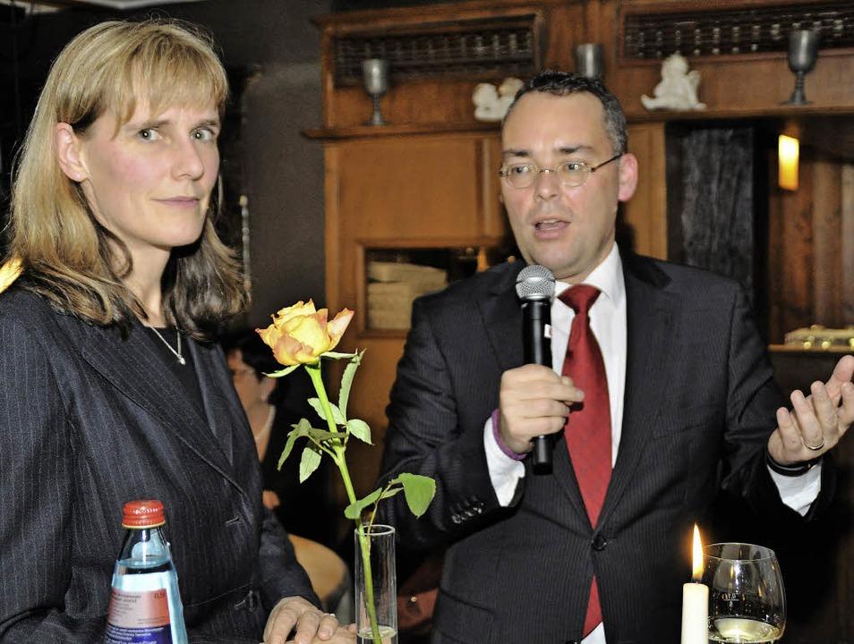 Kreisvorsitzende Birte Könnecke mit Eu...empfang der Kreis-SPD in Kirchzarten.   | Foto: Julius Steckmeister