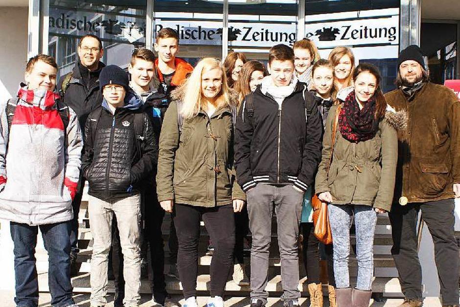 Die Klasse 9d der Werkrealschule Friesenheim mit ihrem Lehrer Herr Martin Buttenmüller. (Foto: Saskia Bührer)