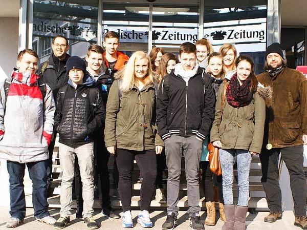 Die Klasse 9d der Werkrealschule Friesenheim mit ihrem Lehrer Herr Martin Buttenmüller.