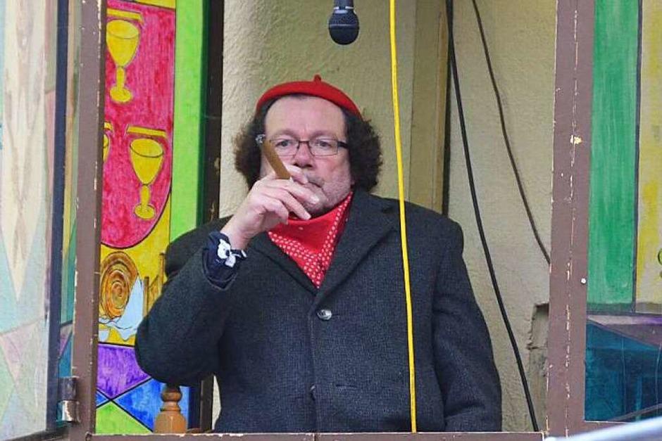 Die Ruhe vor dem Sturm: Lothar Hanser am Stubenplatz in seiner Sprecherkabine (Foto: Andrea Gallien)