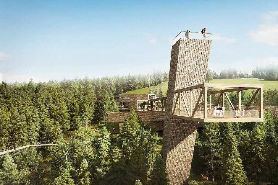 So soll der Skywalk beim Besucherzentrum Nationalpark Schwarzwald am Ruhstein aussehen. Im Vergleich zu anderen  Plattformen sticht seine naturverbundene Konstruktion heraus. Ein weiterer, sehr spektakulärer Skywalk befindet sich... (Foto: Visualisierung Architekten Sturm und Wartzeck GmbH)
