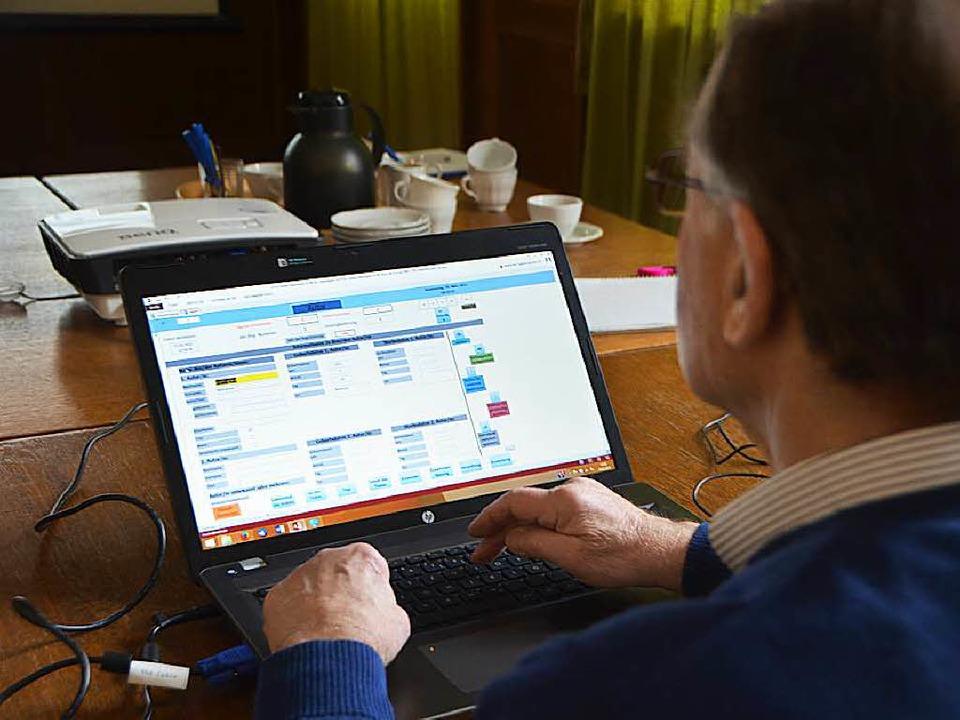 Projektleiter Hans D. Schmitz demonstr...tzt frei geschaltenen Online-Katalog.   | Foto: Gerhard Walser