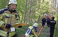 Gemeinsame Waldbrand-�bung der Feuerwehren Reute und Wasser