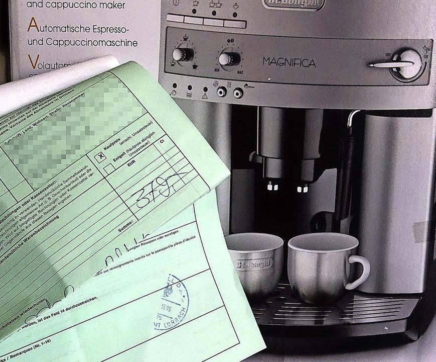 Die Bescheinigung macht's möglich: Kaffeeautomat ohne Mehrwertsteuer.    Foto: Grabherr