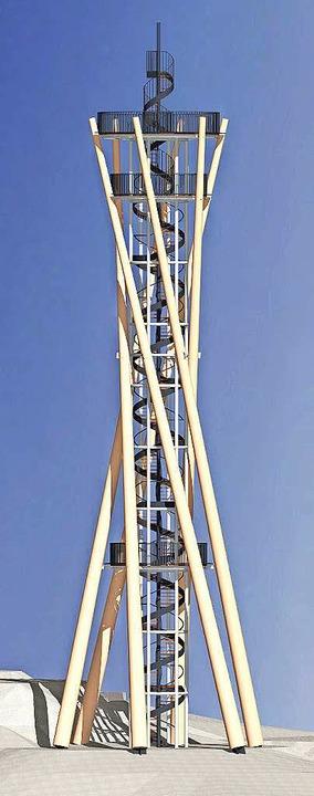 Der Schlossbergturm im Modell des Arch...1; eine Kombination aus Holz und Stahl    Foto: privat