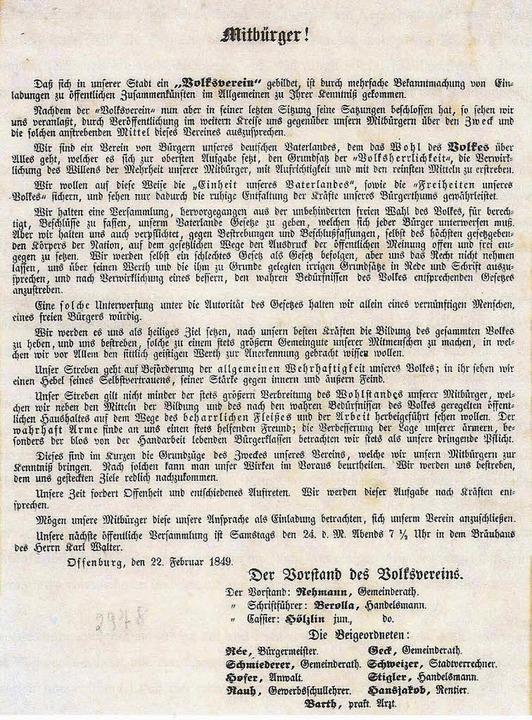 Das Flugblatt (Ausriss) vom 22. Februa...reine im revolutionären Frühjahr 1849.    Foto: Uli Schulze