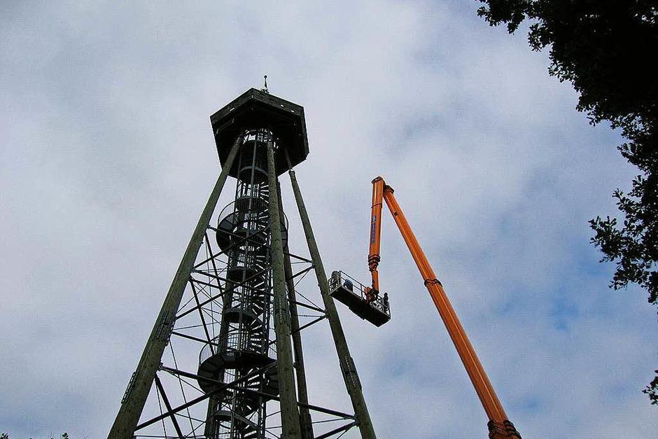 Um an den oberen Bereich zu kommen, hat der Verein einen Hubsteiger gemietet. (Foto: Sylvia-Karina  Jahn)