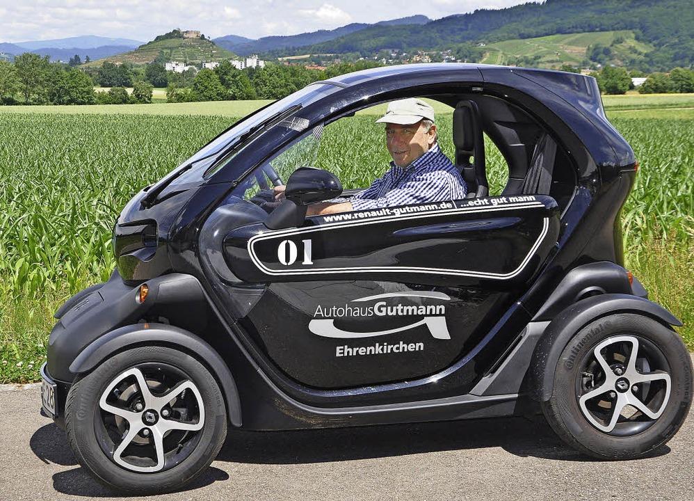 Ein Journalist auf Probefahrt: BZ-Mita...iner Ruther testet den Renault Twizy.     Foto: Rainer Ruther