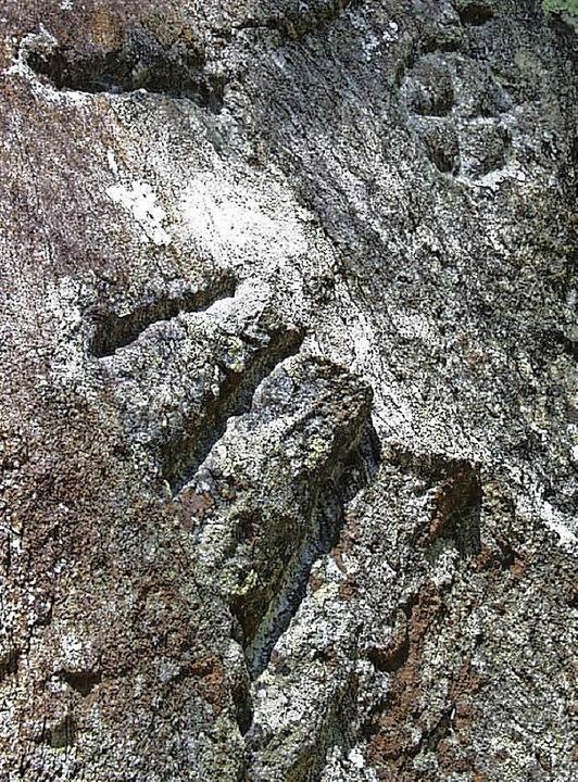 Der Schatzstein mit dem Rad-Zeichen, S...=Radschert) wies auf die Erzgänge hin.  | Foto: Hubert Döbele