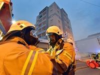 Brand in einem achtst�ckigen Hochhaus in Z�hringen