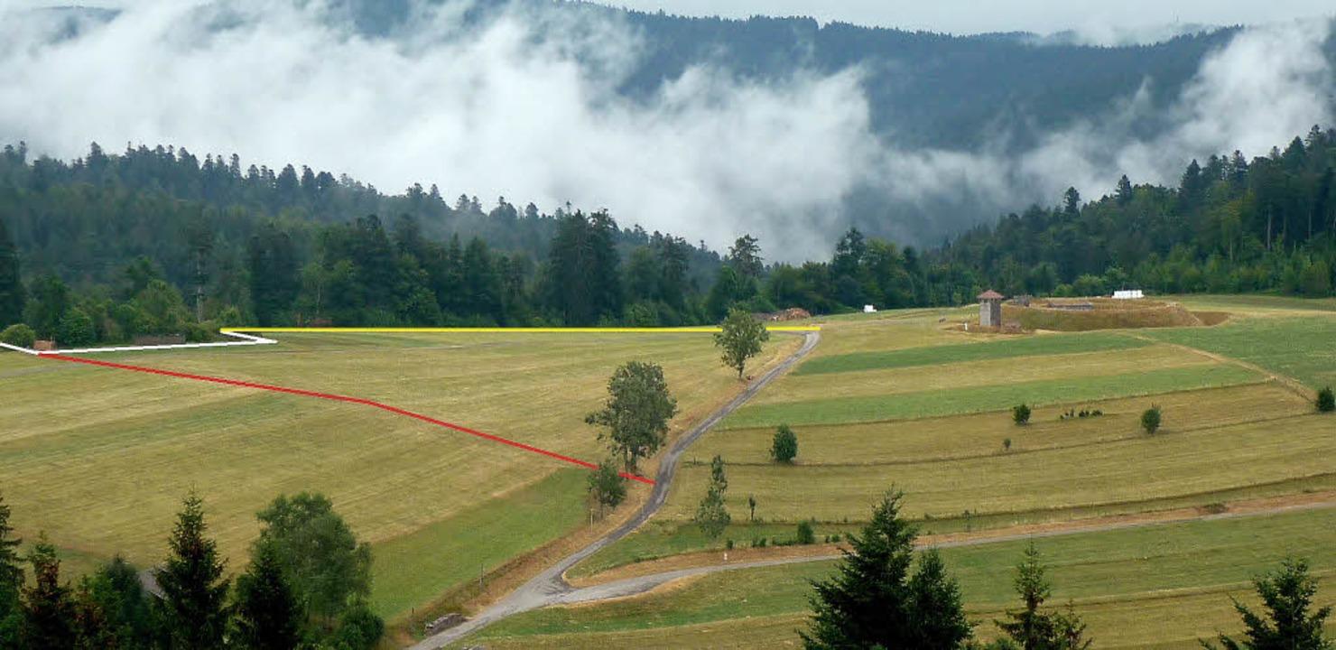 Die Scherentann-Schanze (weiß) ist heu...er heutige Straßenverlauf orientiert.   | Foto: foto/grafik: Werner Störk