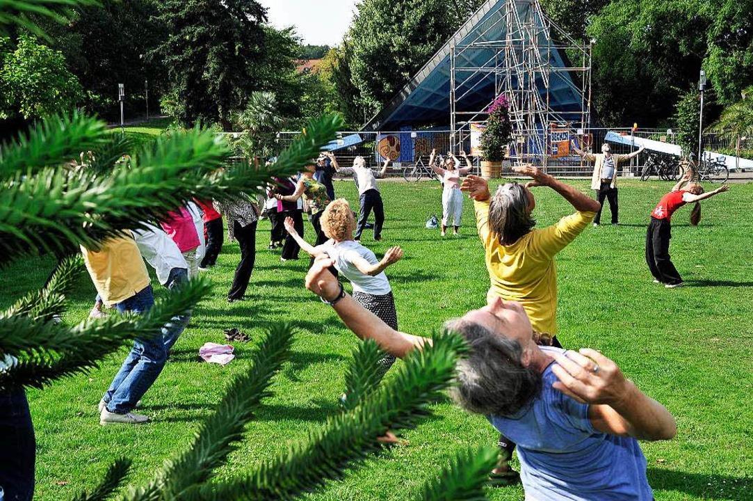 Mit meditativen sportlichen Übungen de... Tai-Chi-Gruppe für neugierige Blicke.  | Foto: Thomas Kunz