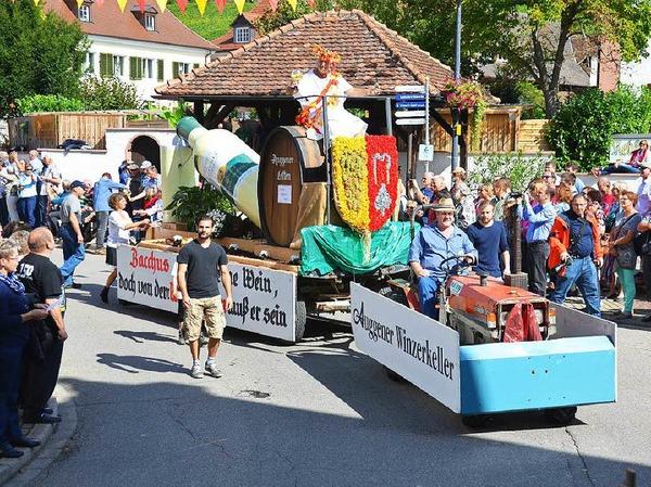Von der Sonne verwöhnt wurde der große Festumzug zum Auggener Winzerfest