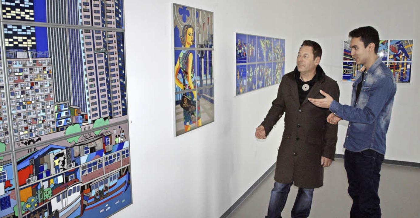 Romain Burgy und sein Schüler Nabil Gharsallah.  | Foto: Michael Haberer