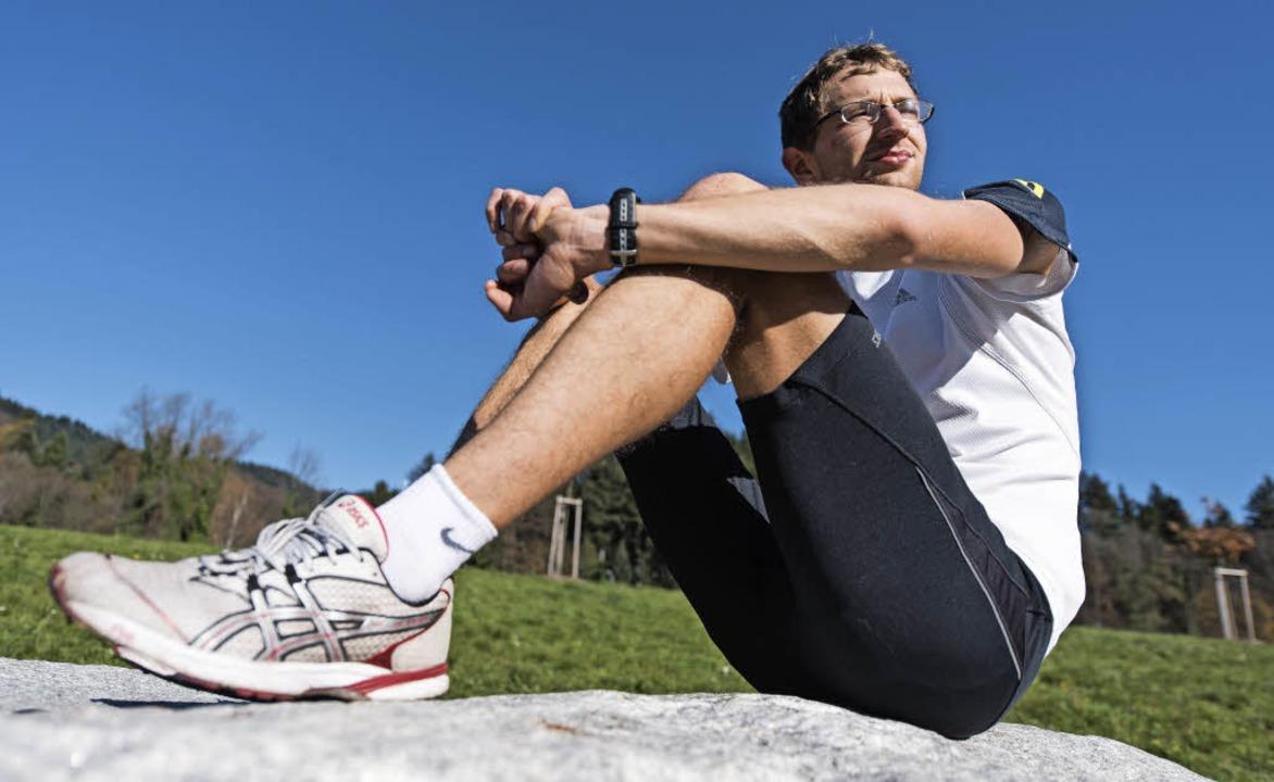 Mal sitzend, nicht gehend: Carl Dohmann   | Foto: Patrick Seeger